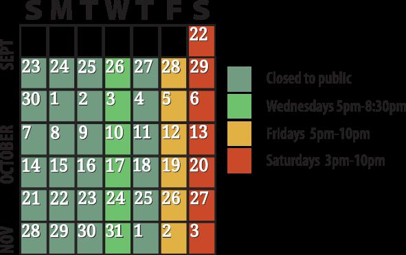 2018 calendar of hours/days