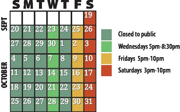 2020 calendar of hours/days